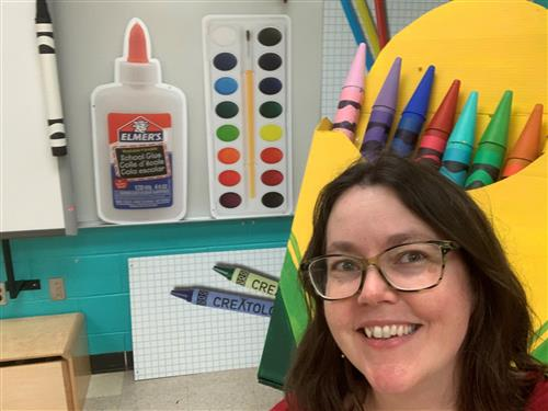 Mrs. Braun in the art room!